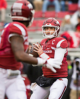 Hawgs Illustrated/BEN GOFF <br /> Austin Allen, Arkansas quarterback, throws a pass to T.J. Hammonds, Arkansas running back, in the second quarter against Mississippi State Saturday, Nov. 18, 2017, at Reynolds Razorback Stadium in Fayetteville.