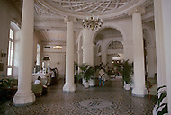 June, 1977. Havana, Cuba. Eighteen years after the Cuban Revolution the first U.S. tourists were permitted to visit Havana. Lobby of the beautiful, old Plaza Hotel.