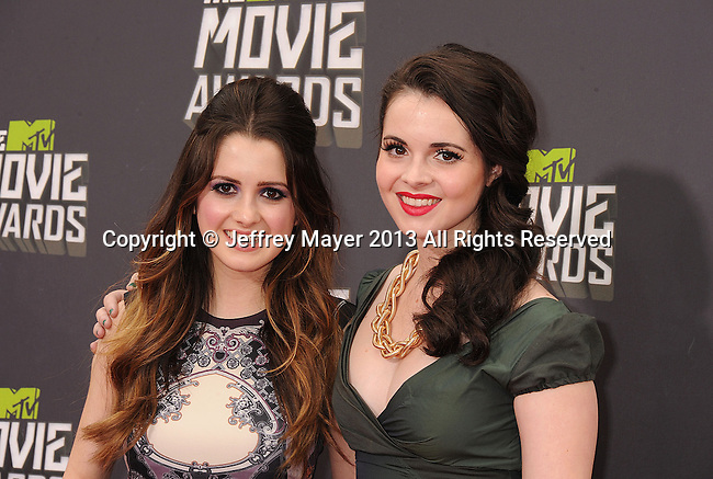CULVER CITY, CA- APRIL 14:  Actresses Laura Marano and Vanessa Marano arrive at the 2013 MTV Movie Awards at Sony Pictures Studios on April 14, 2013 in Culver City, California.