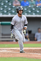 Jackson Generals left fielder Benji Gonzalez (3) runs to first during a game against the Tennessee Smokies at Smokies Stadium on July 5, 2016 in Kodak, Tennessee. The Generals defeated the Smokies 6-4. (Tony Farlow/Four Seam Images)