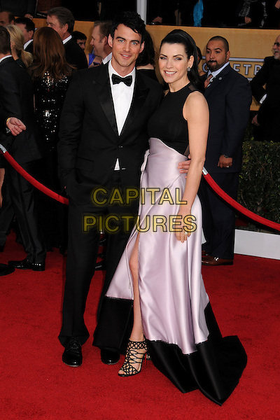 Keith Lieberthal & Julianna Margulies.Arrivals at the 19th Annual Screen Actors Guild Awards at the Shrine Auditorium in Los Angeles, California, USA..27th January 2013.SAG SAGs full length black white tuxedo bow tie shirt married husband wife sleeveless pink skirt .CAP/ADM/BP.©Byron Purvis/AdMedia/Capital Pictures