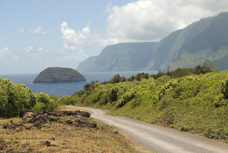 Hawaii: Molokai, road to Kalawao, where there are scenic cliffs and seafins..Photo himolo103-71883..Photo copyright Lee Foster, www.fostertravel.com, lee@fostertravel.com, 510-549-2202