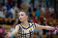 "February 13, 2016 - Tartu, Estonia - VIKTORIA MAZUR of Ukraine wins bronze in the All-Around at ""Miss Valentine"" 2016 international tournament."