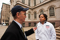Former men's national team player Cobi Jones is interviewed at a press conference honoring the centennial of U. S. Soccer at City Hall in New York, NY, on April 05, 2013.