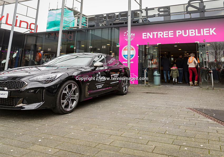 Den Bosch, The Netherlands, Februari 10, 2019,  Maaspoort , FedCup  Netherlands - Canada, Entree with Kia<br /> Photo: Tennisimages/Henk Koster