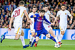Lionel Andres Messi of FC Barcelona (C) fights for the ball with Kostas Manolas of AS Roma (R2, #44) during the UEFA Champions League 2017-18 quarter-finals (1st leg) match between FC Barcelona and AS Roma at Camp Nou on 05 April 2018 in Barcelona, Spain. Photo by Vicens Gimenez / Power Sport Images