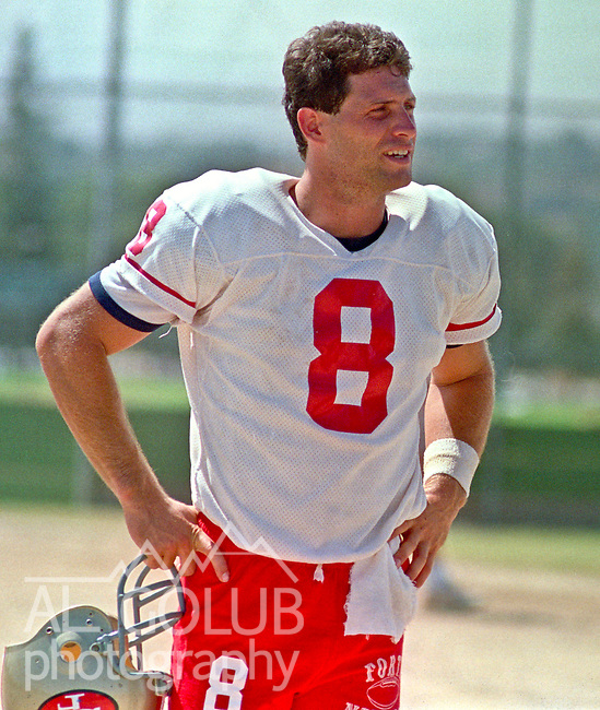 San Francisco 49ers training camp August 4, 1988 at Sierra College, Rocklin, California.  San Francisco 49ers quarterback Steve Young (8).
