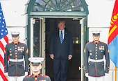 United States President Donald J. Trump waits to participate in the arrival of the President Khaltmaa Battulga of Mongolia at the South Portico of the White House in Washington, DC on Wednesday, July 31, 2019.<br /> Credit: Ron Sachs / CNP
