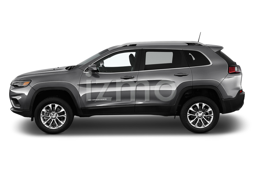 Car driver side profile view of a 2019 Jeep Cherokee Latitude Plus 4X4 5 Door SUV