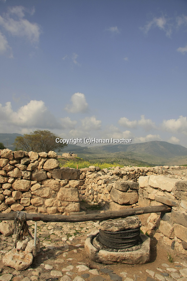Israel, Upper Galilee. Reconstructed ancient olive press in Tel Hazor, a World Heritage site