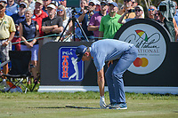 Justin Rose (ENG) drops his club after his tee shot on 7 during round 2 of the Arnold Palmer Invitational at Bay Hill Golf Club, Bay Hill, Florida. 3/8/2019.<br />