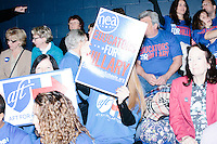 Campaign volunteers gather in the bleachers before former Secretary of State and Democratic presidential candidate Hillary Rodham Clinton speaks at a rally at Nashua Community College in Nashua, New Hampshire, on Tues. Feb. 2, 2016. Former president Bill Clinton also spoke at the event.