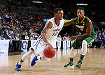 SIOUX FALLS, SD - MARCH 7:  Michale Calder #12 of Fort Wayne dribbles past Carlin Dupree #3 of North Dakota State in the 2016 Summit League Tournament.    (Photo by Dave Eggen/Inertia)
