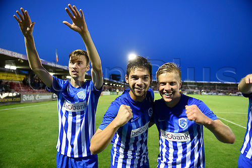04.08.2016. Cork, Ireland. UEFA, Europa League football qualification round. Cork City versus Racing Genk.  Sandy Walsh defender of Krc Genk  celebrates with teammates after winning the game