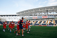 Members of the United States (USA) men's national team during a practice session at PPL Park in Chester, PA, on October 11, 2010.