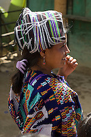A woman proudly wearing, on the Independence Day national holiday in Guatemala, some traditional Chajul woven clothing.