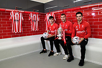 Lincoln City players, from left, Ellis Chapman, Matt Rhead and Sam Habergham pose for a photograph in the changing rooms at Lincoln City new Elite Performance Centre with the Emirates FA Cup<br /> <br /> Photographer Chris Vaughan/CameraSport<br /> <br /> The official opening of Lincoln City's new Elite Performance Centre - Wednesday 7th November 2018 - Scampton, Lincolnshire<br /> <br /> World Copyright © 2018 CameraSport. All rights reserved. 43 Linden Ave. Countesthorpe. Leicester. England. LE8 5PG - Tel: +44 (0) 116 277 4147 - admin@camerasport.com - www.camerasport.com