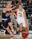 JANUARY 24, 2015 -- Rachel Erickson #12 of Black Hills State drives past Ashley Piper #13 of CSU-Pueblo during their Rocky Mountain Athletic Conference women's basketball game at the Donald E. Young Center in Spearfish, S.D. Saturday. (Photo by Dick Carlson/Inertia)
