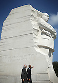United States President Barack Obama (R) visits the Martin Luther King Memorial with Prime Minister Narendra Modi of India (L) after an Oval Office meeting at the White House, Tuesday, September 30, 2014 in Washington, DC. The two leaders met to discuss the U.S.-India strategic partnership and mutual interest issues. <br /> Credit: Alex Wong / Pool via CNP