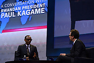 Washington, DC - March 26, 2017: Rwandan President Paul Kagame answers questions during a moderated conversation at the AIPAC Policy Conference March 26, 2017 at the Washington Convention Center in the District of Columbia. (Photo by Don Baxter/Media Images International)