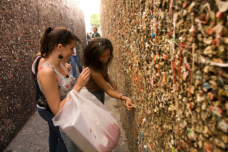 California, San Luis Obispo County: Bubblegum Alley in the town of San Luis Obispo, where thousands have stuck bubblegum to the walls..Photo caluis162-70860..Photo copyright Lee Foster, www.fostertravel.com, 510-549-2202, lee@fostertravel.com