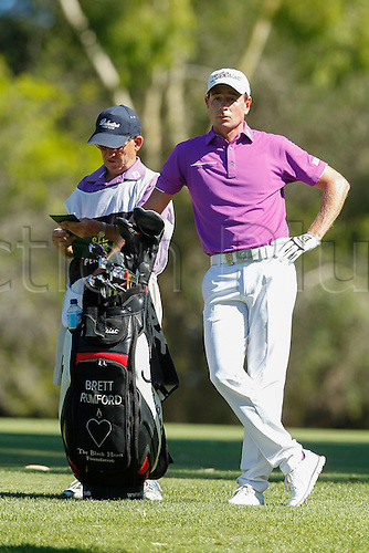 February 19th 2017, Lake Karrinyup Country Club, Perth, Western Australia, Australia; ISPS Handa World Super 6 Perth Golf Tournament Day 4; Brett Rumford (AUS) surveys the situation on the 2nd fairway in his knockout game against Hideto Tanihara (JPN)