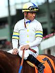 April 9, 2011. Garrett Gomez after winning The Providencia Stakes riding Cambina at Santa Anita Park, Arcadia, CA