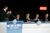 Il Presidente della Camera dei Deputati Gianfranco Fini, a sinistra, parla durante la Direzione Nazionale del Popolo della Liberta' (PdL), a Roma, 22 aprile 2010, davanti al Presidente del Consiglio Silvio Berlusconi, secondo da destra, e ai coordinatori nazionali Ignazio La Russa, secondo da sinistra, Denis Verdini, al centro, e Sandro Bondi..Lower Chamber speaker Gianfranco Fini, left, speaks as Italian Premier Silvio Berlusconi, second from right, flanked by party's coordinators Ignazio La Russa, second from left, Denis Verdini, center, and Sandro Bondi, looks on during the National Direction of the People of Freedom (PdL) center-right party in Rome, 22 april 2010..UPDATE IMAGES PRESS/Riccardo De Luca