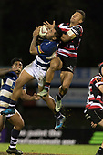 Tim Nanai-Williams and Vince Aso compete for the high ball. Mitre 10 Cup rugby game between Counties Manukau Steelers and Auckland played at ECOLight Stadium, Pukekohe on Saturday August 19th 2017. Counties Manukau Stelers won the game 16 - 14 and retain the Dan Bryant Memorial trophy.<br /> Photo by Richard Spranger.