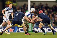 Dave Attwood of Bath Rugby takes on the Leinster defence. Heineken Champions Cup match, between Leinster Rugby and Bath Rugby on December 15, 2018 at the Aviva Stadium in Dublin, Republic of Ireland. Photo by: Patrick Khachfe / Onside Images