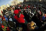 Spectators at Freedom Plaza await the start of President Barack Obama's Inaugural Parade.