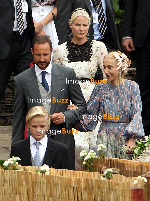 Arrival of the guests of the marriage of Pierre and B&eacute;atrice<br /> <br /> Princesse Mette-Marit de Norvege;Prince Haakon de Norv&egrave;ge;Marius Borg Hoiby;Franca Sozzani