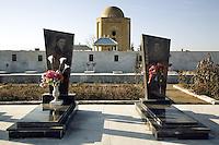Azerbaijan. Ganja region. Ganja. Muslim graveyard with marble tombs of dead young men killed in 1993 during the Nagorno-Karabagh war. © 2007 Didier Ruef