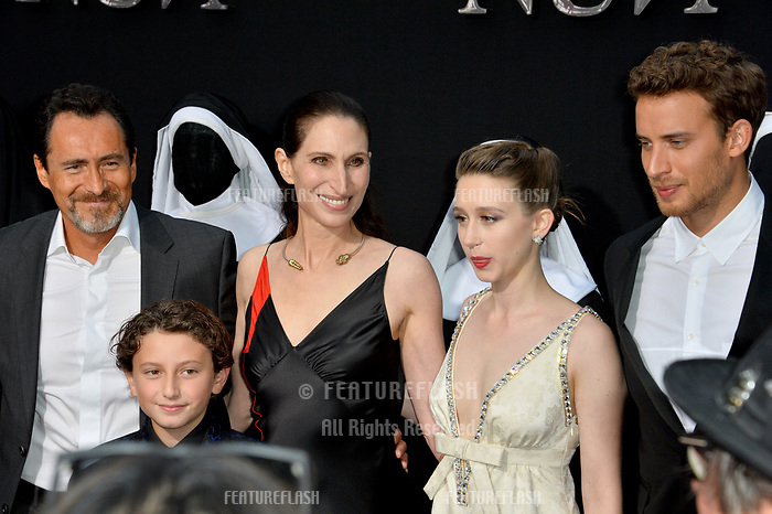 "LOS ANGELES, CA. September 04, 2018: Demian Bichir, August Maturo, Bonnie Aarons, Taissa Farmiga & Jonas Bloquet at the world premiere of ""The Nun"" at the TCL Chinese Theatre, Hollywood."