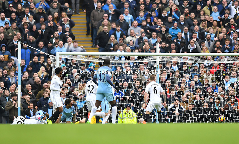 Manchester City's Gabriel Jesus scores the first goal during the Premier League match between Manchester City and Swansea City at the Etihad Stadium, Manchester, England. Sunday 05 February 2017