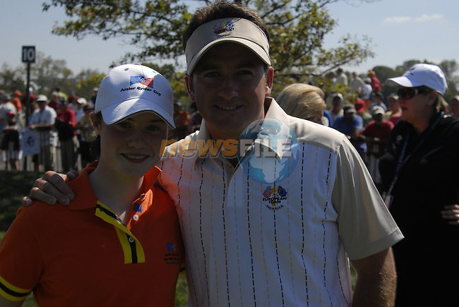 Leona Maguire with Graeme McDowell before teeing off at the Junior Ryder Cup at Valhalla Golf Club, Louisville, Kentucky, USA, 17th September 2008 (Photo by Eoin Clarke/GOLFFILE)