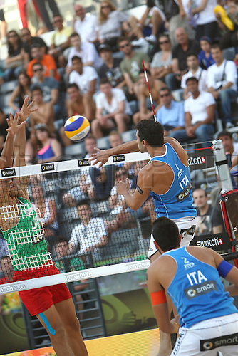 13.06.2011. Rome, Italy.  Beach Volleyball World Championships Rome 2011. Nicolai and Martino versus Samoilovs and Sorokins