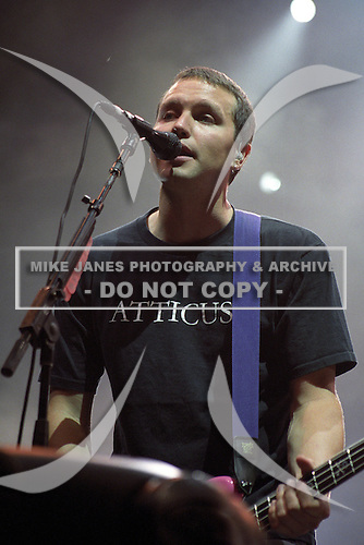 Mark Hoppus (Bass) of Blink 182 performs at Darien Lakes Performing Arts Center in Darien Center, New York circa July 23, 2001.  Photo Copyright Mike Janes Photography
