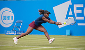 June 11th 2017, Nottingham, England;WTA Aegon Nottingham Open Tennis Tournament day 2;  Sachia Vickery of USA stretches for a two handed backhand in her match against Jana Fett of Croatia