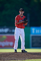 Batavia Muckdogs starting pitcher Martin Anderson (49) gets ready to deliver a pitch during a game against the West Virginia Black Bears on July 3, 2018 at Dwyer Stadium in Batavia, New York.  Batavia defeated West Virginia 5-4.  (Mike Janes/Four Seam Images)