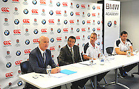 Mortimer, England, Managing Director of BMW Group UK, Tim Abbott, RFU Professional Rugby Director Rob Andrew, England rugby head coach Stuart Lancaster and backs coach Andy Farrell speak during the  Launch of BMW Group UK's new partnership with the RFU including investment in the RFU National Academy Programme and front of shirt sponsorship for the England Under-20, Under-18 and Under-16 squads at  BMW Group Academy, Mortimer, England, September 25.