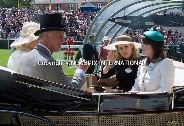 """PRINCESSES BEATRICE AND EUGENIE WITH PRINCE CHARLES.on the opening day of Royal Ascot, Ascot, Berkshire 2011_14/06/2011.Mandatory Photo Credit: ©Shaw/Newspix International..**ALL FEES PAYABLE TO: """"NEWSPIX INTERNATIONAL""""**..PHOTO CREDIT MANDATORY!!: NEWSPIX INTERNATIONAL(Failure to credit will incur a surcharge of 100% of reproduction fees)..IMMEDIATE CONFIRMATION OF USAGE REQUIRED:.Newspix International, 31 Chinnery Hill, Bishop's Stortford, ENGLAND CM23 3PS.Tel:+441279 324672  ; Fax: +441279656877.Mobile:  0777568 1153.e-mail: info@newspixinternational.co.uk"""