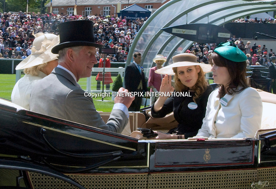 "PRINCESSES BEATRICE AND EUGENIE WITH PRINCE CHARLES.on the opening day of Royal Ascot, Ascot, Berkshire 2011_14/06/2011.Mandatory Photo Credit: ©Shaw/Newspix International..**ALL FEES PAYABLE TO: ""NEWSPIX INTERNATIONAL""**..PHOTO CREDIT MANDATORY!!: NEWSPIX INTERNATIONAL(Failure to credit will incur a surcharge of 100% of reproduction fees)..IMMEDIATE CONFIRMATION OF USAGE REQUIRED:.Newspix International, 31 Chinnery Hill, Bishop's Stortford, ENGLAND CM23 3PS.Tel:+441279 324672  ; Fax: +441279656877.Mobile:  0777568 1153.e-mail: info@newspixinternational.co.uk"