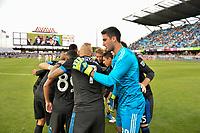 San Jose, CA - Saturday June 09, 2018: San Jose Earthquakes huddle during a Major League Soccer (MLS) match between the San Jose Earthquakes and Los Angeles Football Club at Avaya Stadium.