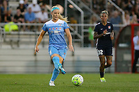 Piscataway, NJ - Saturday Aug. 27, 2016: Julie Johnston, Tasha Kai during a regular season National Women's Soccer League (NWSL) match between Sky Blue FC and the Chicago Red Stars at Yurcak Field.