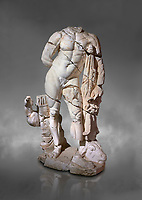 Roman statue of Hercules. Marble. Perge. 2nd century AD. Inv no . Antalya Archaeology Museum; Turkey.  Against a grey background