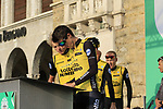 George Bennett (NZL) and Team LottoNL-Jumbo at sign on before the start of the 112th edition of Il Lombardia 2018, the final monument of the season running 241km from Bergamo to Como, Lombardy, Italy. 13th October 2018.<br /> Picture: Eoin Clarke | Cyclefile<br /> <br /> <br /> All photos usage must carry mandatory copyright credit (© Cyclefile | Eoin Clarke)