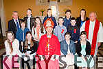 The pupils from Castlemaine NS with Bishop Ray Browne at their Confirmation in Keel on Friday front row l-r: Maggie O'Dowd, Carla Counihan, Michelle O'Dowd, Natasha Myers. Middle row: Rory Mangan, Sophie O'Brien, Adam Lenihan, Anthony Kelliher Fr luke Roche. Back row: Brendan Dennehy Principal, Seamus Nagle, JM O'Brien, Seamus O'Brien and Miss O'Callaghan