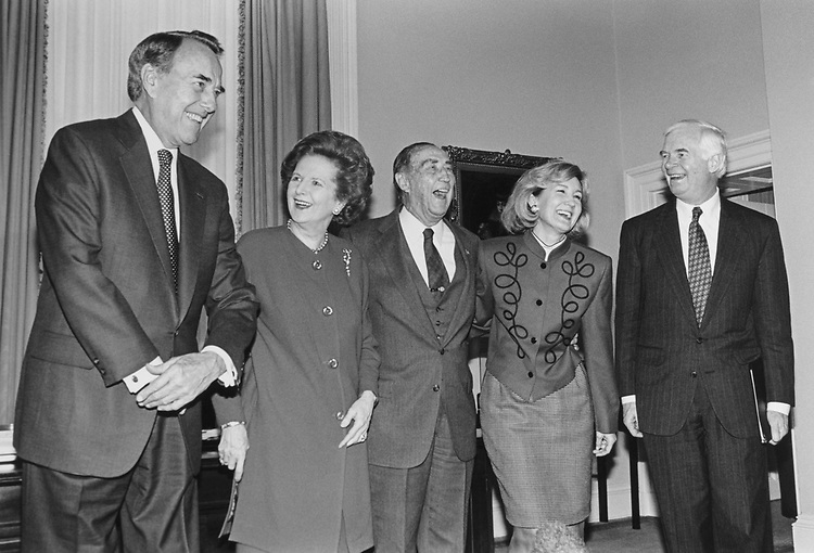 Sen. Bob Dole, R-Kans., Former Prime Minister Margaret Thatcher, Sen. Strom Thurmond, R-S.C., Sen. Kay Bailey Hutchison, R-Tex., Sen. Thad Cochran, R-Miss., at Dole's office for lunch with Senators in February 1995. (Photo by Laura Patterson/CQ Roll Call)