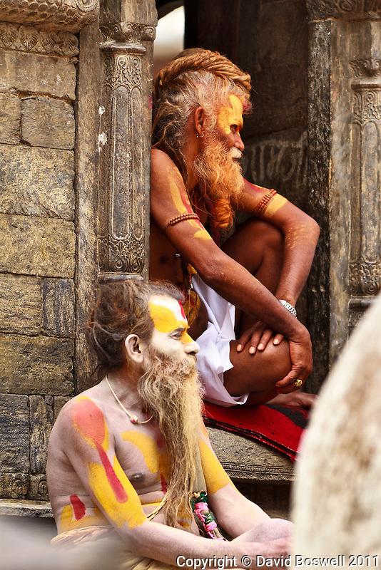 Sadhus (holy men living by begging) at the Pashupatinath Temple in Kathmandu, Nepal.